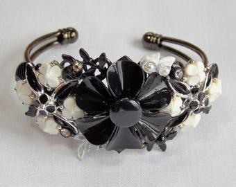 Vintage Assemblage Cuff Bracelet in Black and White Enamel Flowers