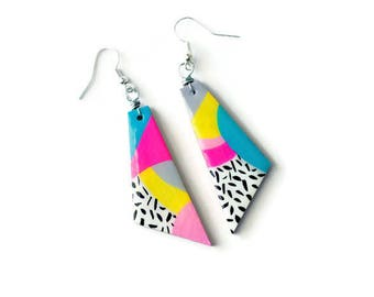 Mismatch earrings - Geometric earrings - Colorful jewelry - Unique gifts for her - Retro 80s earrings - 80s fashion - 80s accessories