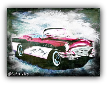 Vintage Retro Style Art Old Timer Pink Buick Car Painting Home D Cor Wall Hanging Art