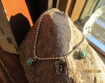 "Handcrafted Sterling Silver All 925 Bracelet with Turquoise Charms and Butterfly Charm, Weight 5.9 Grams, 7.5"" Long"