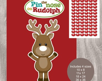 Christmas Printable Game, Pin the Nose on Rudolph, Instant Download, School and Family Party Game, Pin the Nose on Reindeer Printable Game