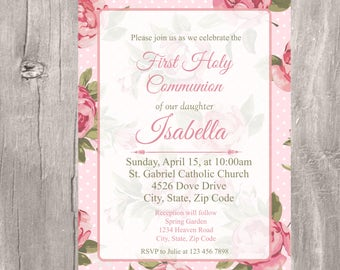 First Holy Communion Invitation, Pink Roses Holy First Communion Printable Invite, Girl Pink Holy Communion, Invitacion Primera Comunion