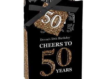 50th Birthday Party Favors for Birthday Parties - Favor Boxes - Adult 50th Birthday - Gold Party Supplies - Set of 12