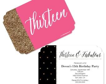 13th birthday invite Etsy