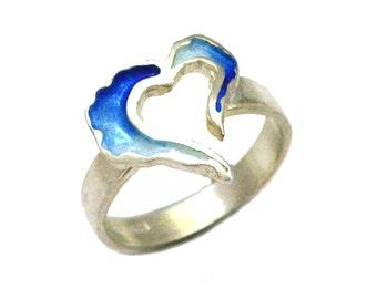 Open Heart Ring, Red Enamel Heart Ring, Blue Heart Ring, Heart Blue Valentine, Gift for her, Valentine gift