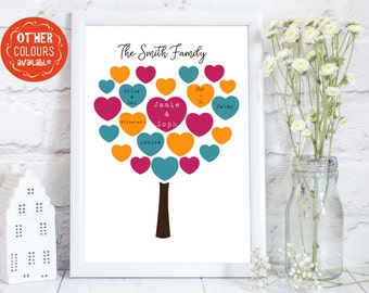 Personalized Family Tree, Personalized Family Print, Personalised family tree, personalised family print, up to  22 name, PRINT ONLY