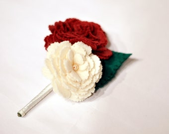 Red and Cream Felt Buttonhole / Felt corsage / Everlasting wedding flowers / Groomsmen boutonnière / handmade hand-embroidered buttonhole