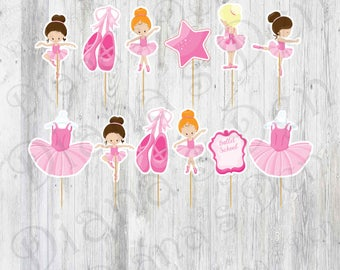 Ballet Cupcake Toppers/Ballet Party/Ballet Toppers/Ballerina Party/Girl Party/Toppers/Princess Party