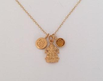 Lord Ganesh Necklace in gold, with birthstone, aum,ohm,spiritual, Ganesha,om