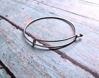 Stainless steel bangle bracelet - silver bangle bracelet, DIY charm bracelet, adjustable bracelet, bangle bracelet, DIY bangle bracelet