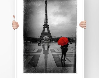 Fine ART Print of Paris  - Eiffel tower red umbrella Trocadero Black and White Street view Typical Picture Poster Wall Art