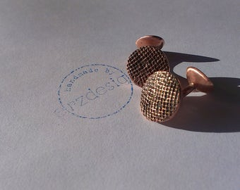 Cufflinks made of copper with organic structures, cuttlefish, sea urchins, grid