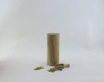 8pices and pepper mill in Spalted maple, Cylinder style with rod mecanisme / 6 1/2 in article no: 564
