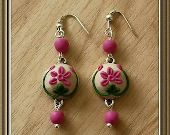Polymer clay Earrings, Applique work, Clay Embroidery,  Polymerclay Bezel Earring