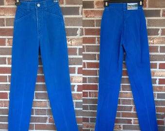 Bright Blue 1980s High Waisted Rockies Jeans, 0 Long
