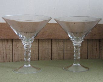 Vintage Martini Glasses Set of Two (2) Bar Glasses Swirled Stemmed Barware