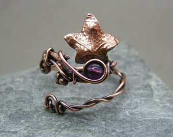 Adjustable amethyst ring ~ Thumb ring ~ Botanical ring ~ Amethyst ring ~ Copper ring ~ Leaf ring ~ Ivy leaf ring ~ Adjustable rings for her