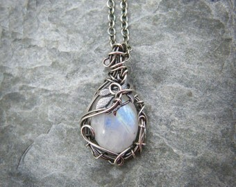 Moonstone necklace ~ Sterling silver moonstone pendant ~ Blue moonstone jewelry ~ Silver leaf necklace ~ Leaf jewellery for her ~ Leaves