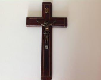 Beautiful Vintage cross / Crucifix wooden / INRI / CHRIST on the cross