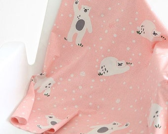 Cute Bear Cotton Fabric by Yard, Width 160cm (62 Inches) - Peach Pink