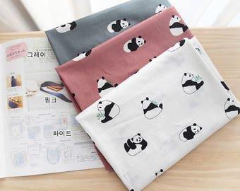 Cute Panda Pattern Cotton Fabric by Yard - 3 Colors Selection