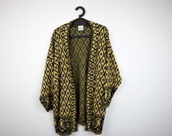 Black and Gold Glitzy Vintage Women's Open Extra Long Cardigan Sweater by Bentley Woman / Diamond Print / One Size