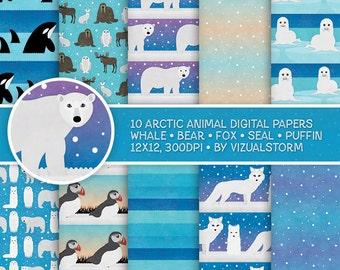 Arctic Digital Paper Polar Animal Scrapbooking Background Printable Winter Animal Patterned Paper Pack Polar Bear Puffin Fox Seal Orca Snow