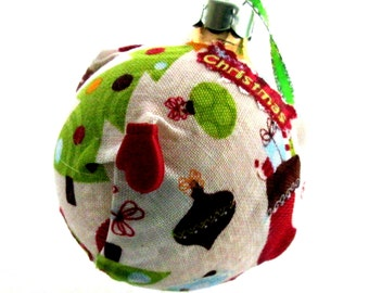 Fabric covered glass ornament EBC0001