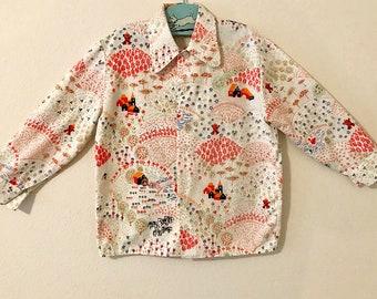 Vintage Toddler Boys Shirt. Vintage 1970's Button Down Shirt. Vintage Novelty Print Shirt. Kitschy Print 70's Button Down Shirt.