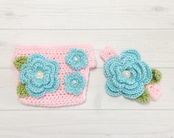 0~3months Baby Girl Photo Prop Handmade Crochet Flower Headband & Diaper Cover Set