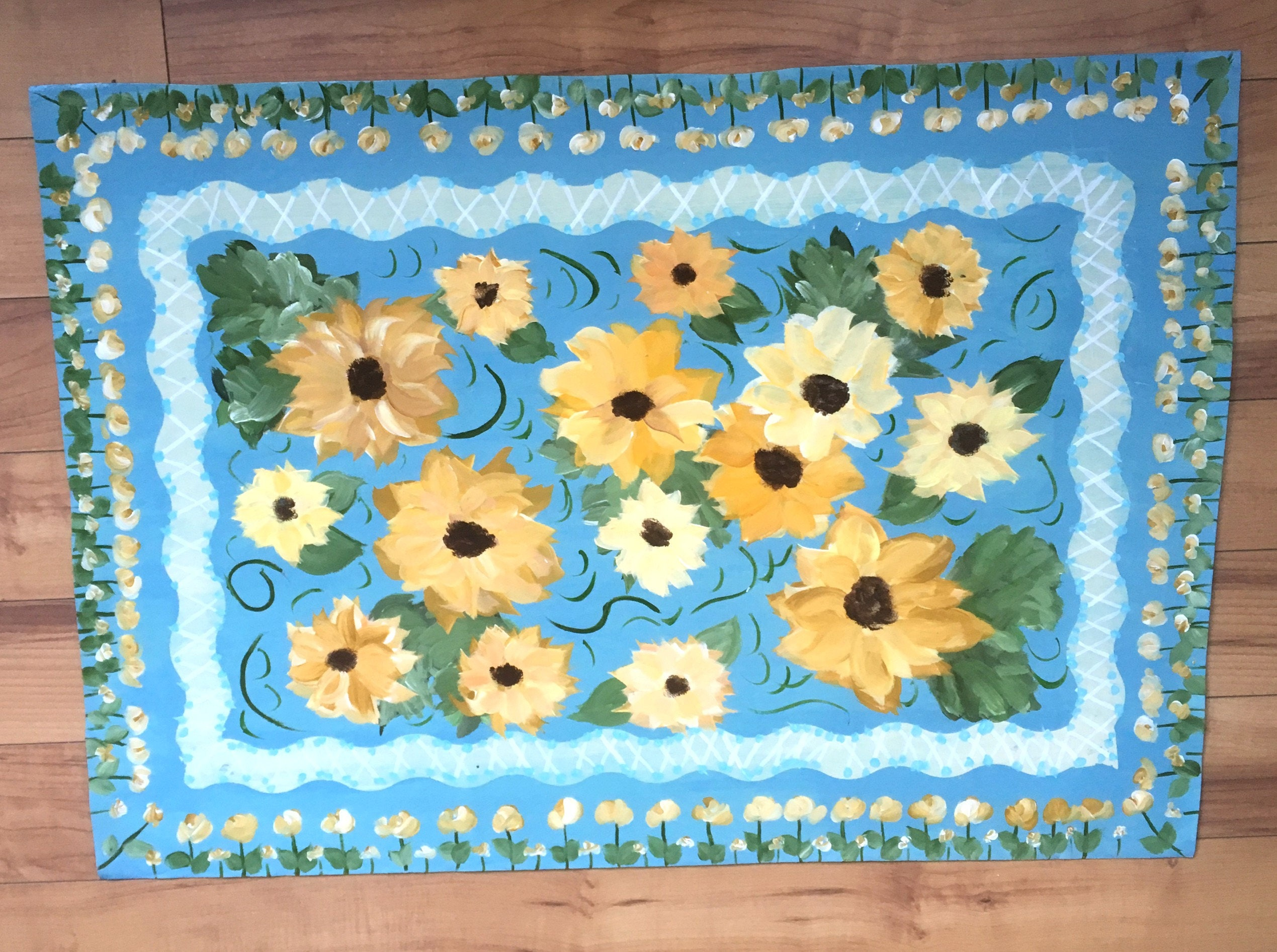 Sunflower Floor Cloth Area Rug Blue Yellow Kitchen Mat Runner