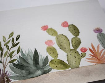 Cactus Garden - Original Watercolor Painting