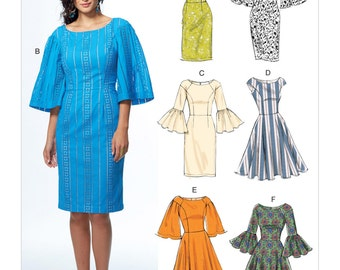 Vogue Pattern V9239 Misses' Princess Seam Dresses with Sleeve and Skirt Variations