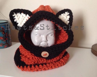 Hooded Cowl, Fox Cowl, Cowl, Toddler Cowl, Crochet Cowl, Handmade Cowl, 2T-4T Hooded Cowl