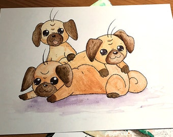 Three Pug Puppies Watercolour Painting