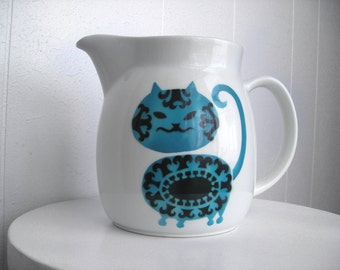 1960s Arabia Blue Teal Kitty Cat Ceramic Pitcher - Made in Finland - Finnish - Utensil Storage