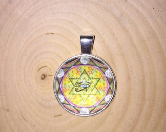 Flower of Life Moonlight Silver Cabochon Pendant Necklace