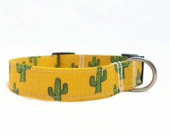 "Dog Collar - ""Cactus"" - Ocher/Mustard Yellow - Small/Medium/Large/Extra Large Dog Collar - Hipster Dog Collar - Trendy Dog Collar - Durable"
