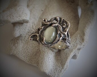 Moonstone, sterling silver ring, witch ring, spiral ring,crystal ball ring, Harry Potter ring.