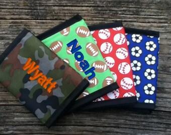 Personalized Boys Wallet - Camo, Soccer, Baseball, Football