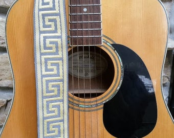 Chic Yellow and Grey Threaded Guitar Strap; Statement Guitar Strap; Unique Guitar Straps; Paisley Guitar Straps; Guitar Straps; Woven Straps
