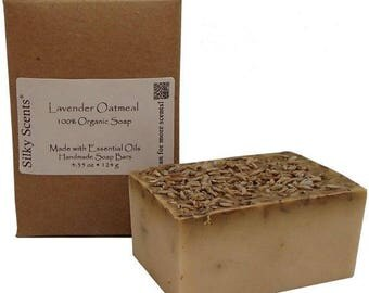 Lavender Oatmeal Soap Bar - Made with Organic Ingredients and Pure Essential Oils