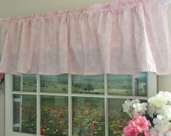 Shabby Chic Pink Valance ~ 68 Inches Wide