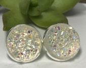 Clear druzys | druzy earrings | galaxy earrings | crystal earring | druzy studs | round earrings | geometric posts | faux druzy earring 12mm