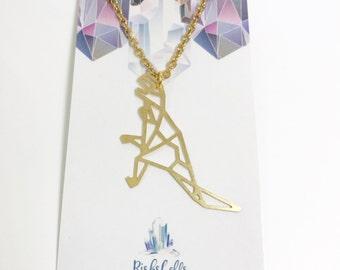 Geometric Necklace | dinosaur Necklace | gold trex | tyrannosaurus Necklace | geometric animal Necklace | trex Necklace | short necklace |