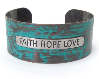 Message Cuff Bracelet - Faith Hope Love