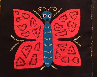 Mola Textile:  Red and Blue Butterfly