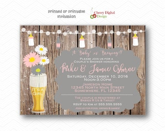 Adorable Rustic Couples Baby Shower Printed or Printable Invitations | A Baby Is brewing Shower Invite for Girl |  Pink White Gray
