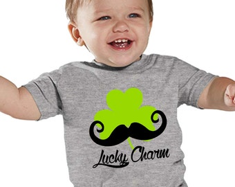 Mr Lucky Mustache Green Shamrock on HEATHER shirt