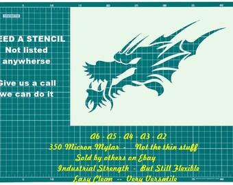 Tattoo Style Dragon  STENCIL Tattoo StyleTough Reusable 350 Micron Material Various Sizes  #T046